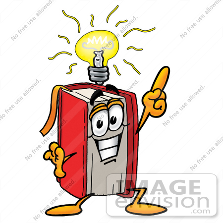 450x450 Clip Art Graphic Of A Book Cartoon Character With A Bright Idea