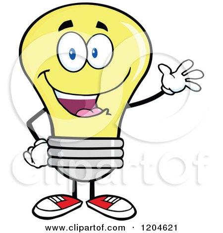 450x470 Cartoon Of A Happy Yellow Light Bulb Mascot With An Idea