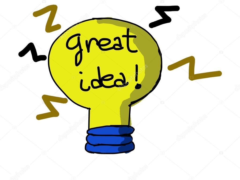 1024x768 Cartoon Yellow Lightbulb. Symbol Of Great Idea. Stock Photo