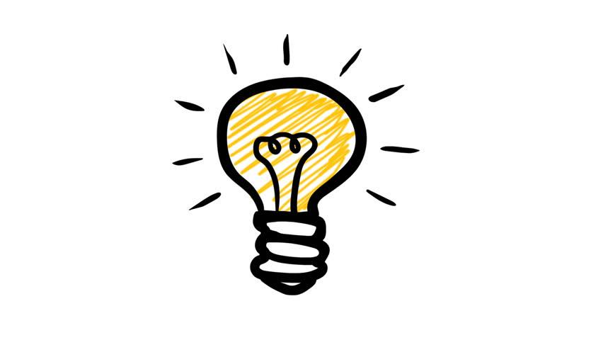 852x480 Drawn Light Bulb Animated