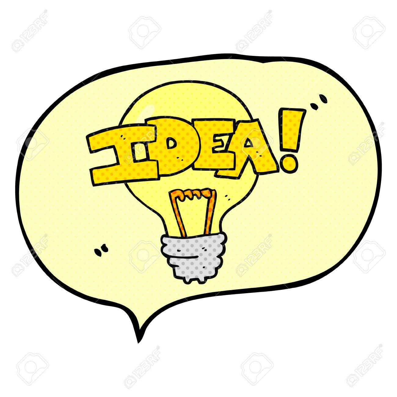1300x1300 Freehand Drawn Comic Book Speech Bubble Cartoon Idea Light Bulb