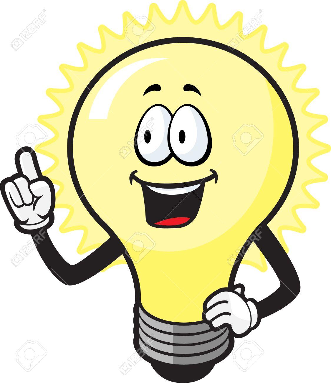 1124x1300 A Happy Cartoon Light Bulb With An Idea. Royalty Free Cliparts