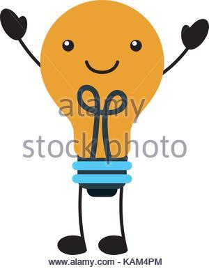 300x386 Kawaii Light Bulb Idea Creativity Cartoon Stock Vector Art