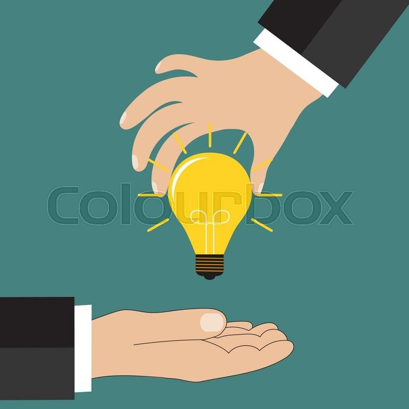 800x800 Cartoon Businessman Hand Holding Idea Light Bulb, Giving Idea