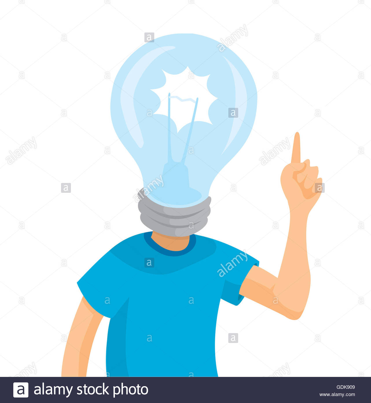 1282x1390 Cartoon Illustration Of Idea Man Or Light Bulb Head Stock Photo
