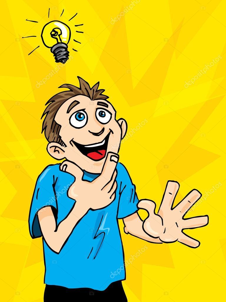 768x1024 Cartoon Man Gets A Bright Idea. A Light Bulb Above His Headcartoon