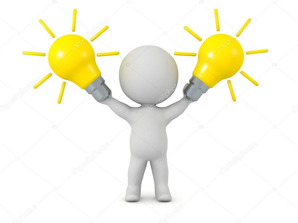 1024x768 3d Character Holding Idea Light Bulbs Stock Photo Lucian3d