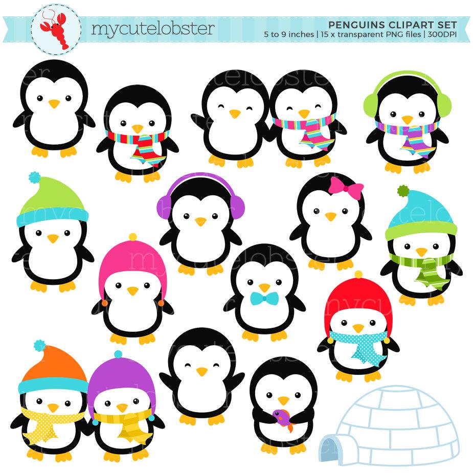 925x925 Penguins Clipart Set Clip Art Set Of Penguins Winter