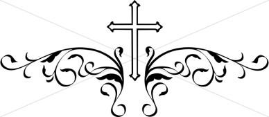 388x169 Decorative Black Cross Crosses In Faith Graphics
