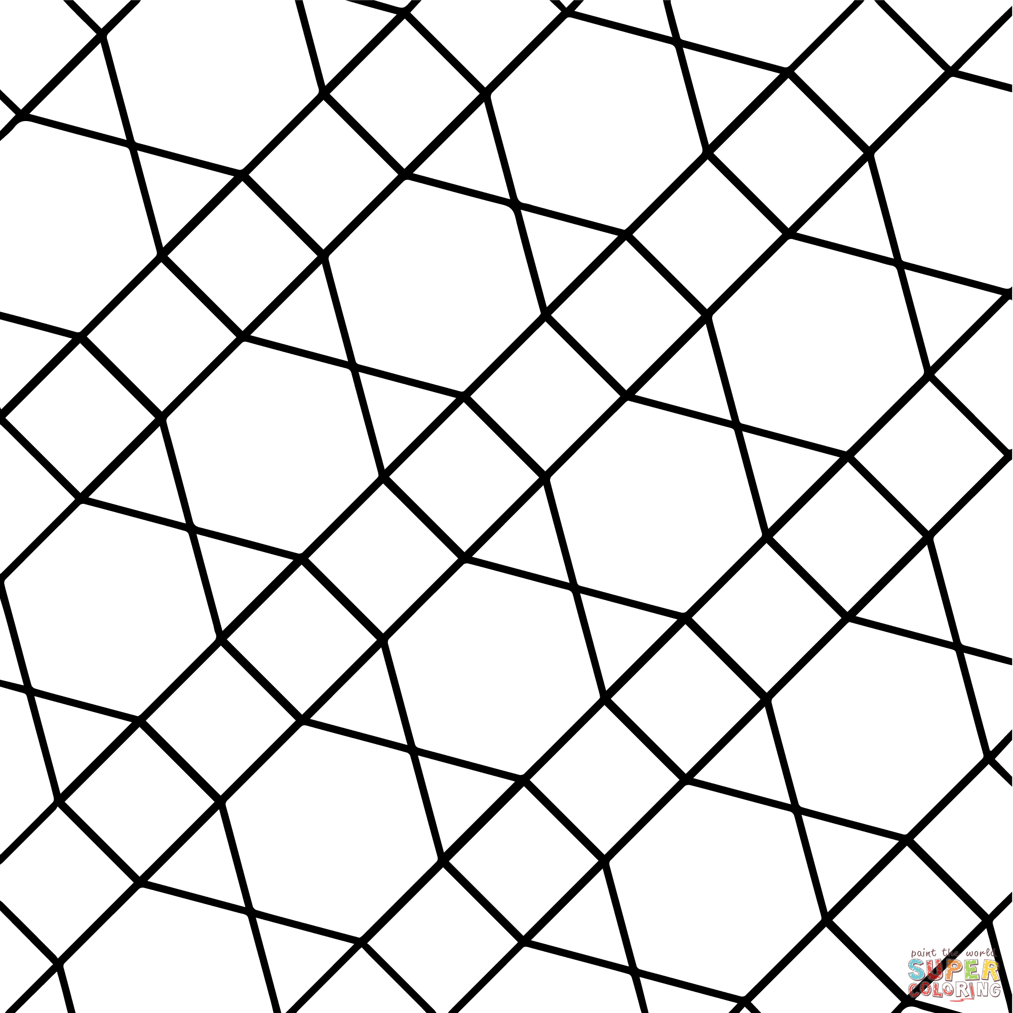 2000x2000 Geometric Tessellation With Hexagon, Triangle And Square Coloring