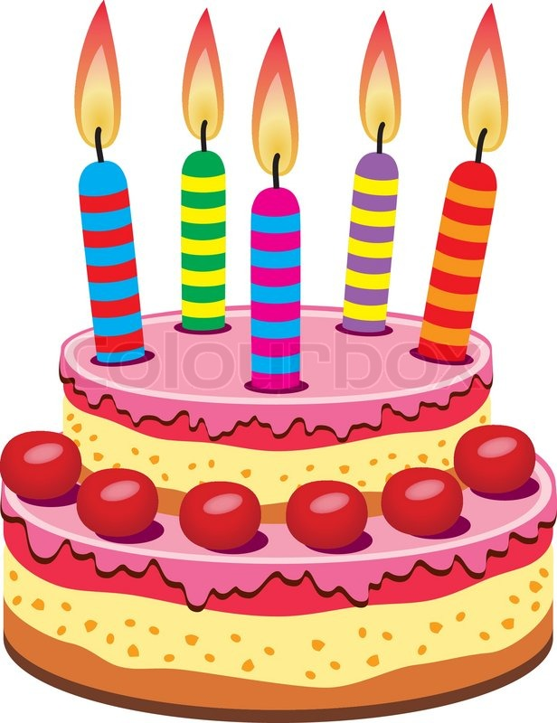 616x800 Vector Birthday Cake With Burning Candles Stock Vector Colourbox