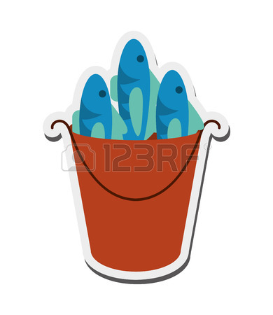 390x450 Illustration Of Bucket Of Fish On White Background And Bucket