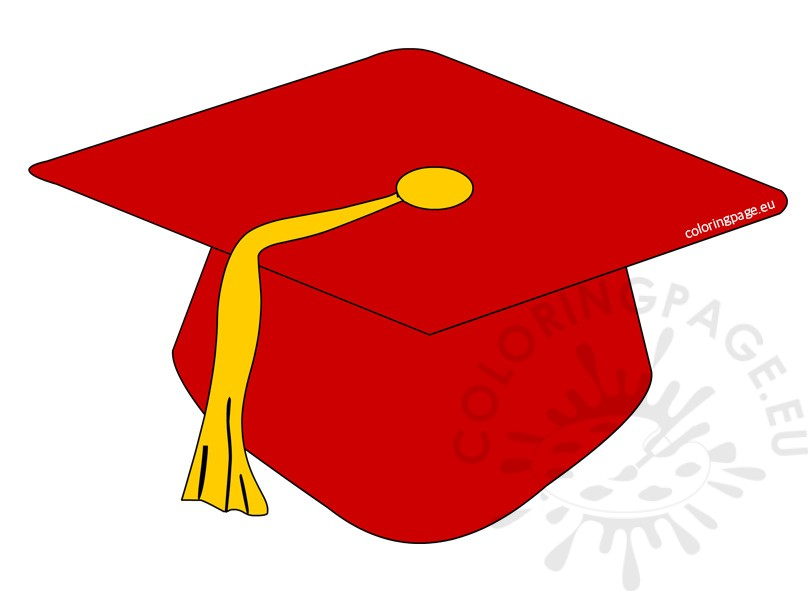 808x591 Red Preschool Graduation Cap Clipart Coloring Page