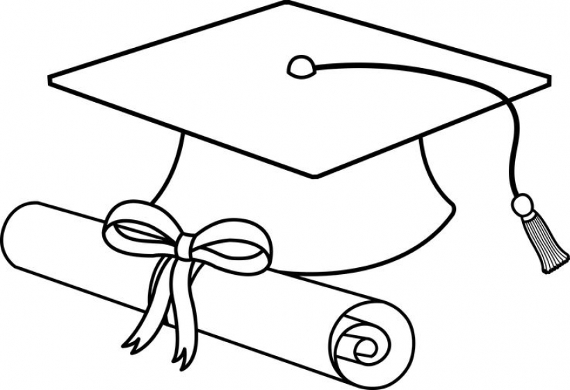 820x562 Enchanting Graduation Cap Clipart Hat Flying Caps Clip Art Line