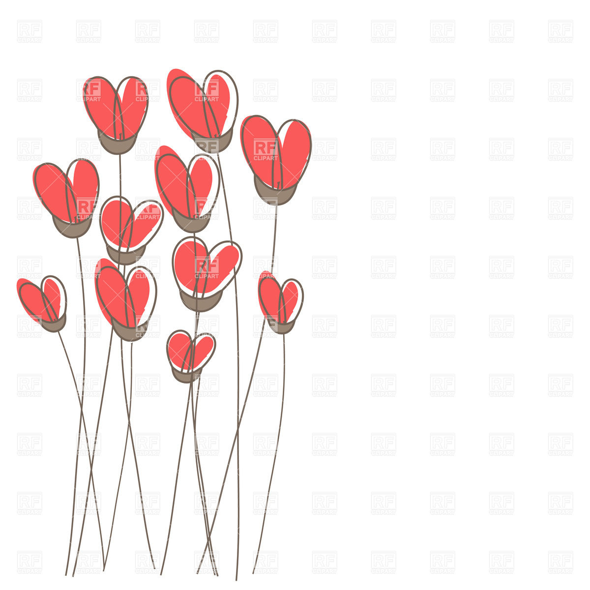 1200x1200 Set Of Heart Shaped Flowers On White Background Royalty Free