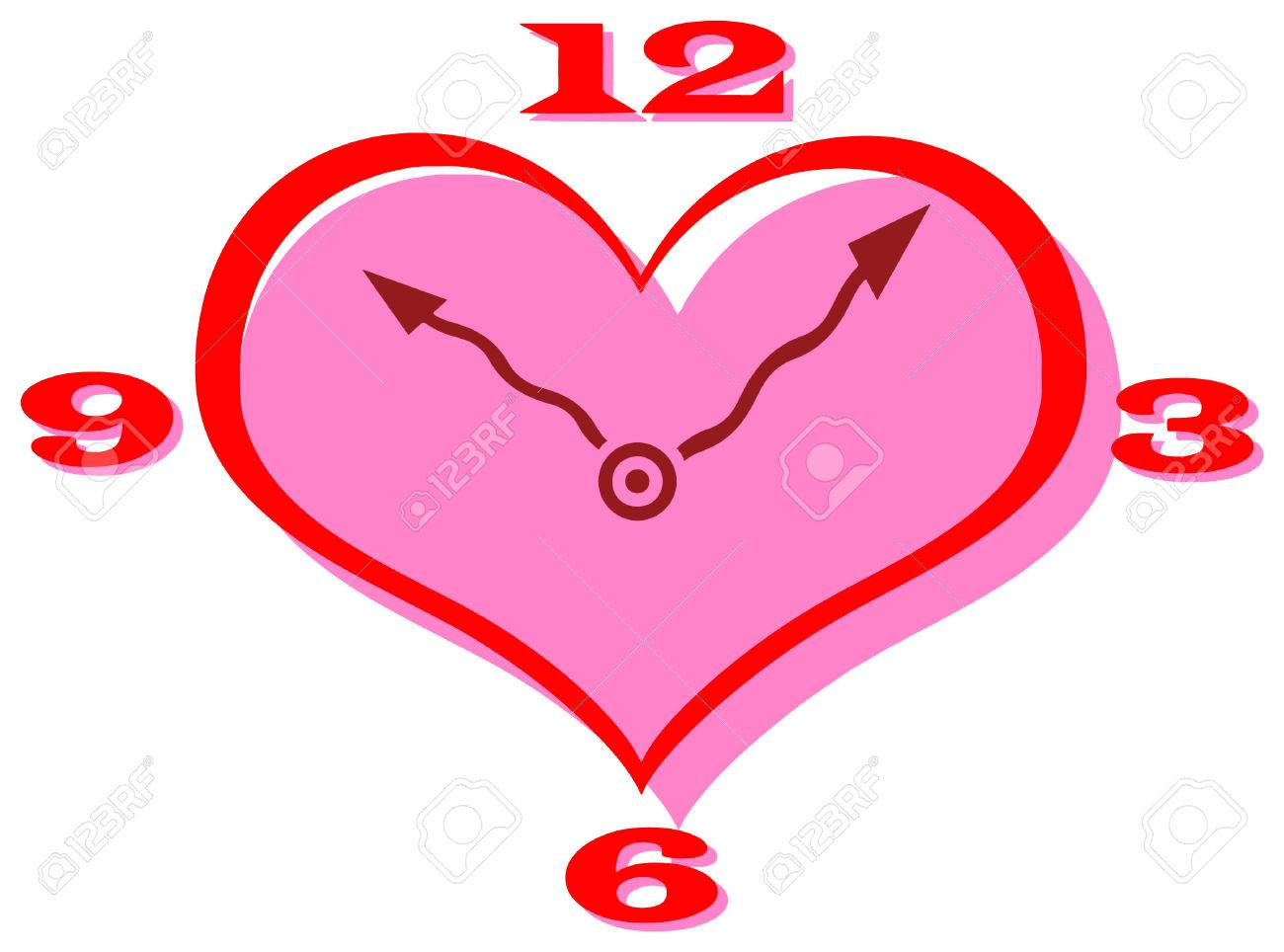 1300x964 Vector Clip Art Of A Heart Shape Clock With Curly Hands Royalty