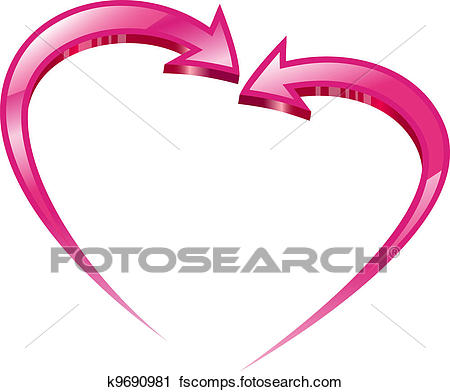 450x392 Clipart Of Two Pink Arrows Create A Heart Shape. K9690981