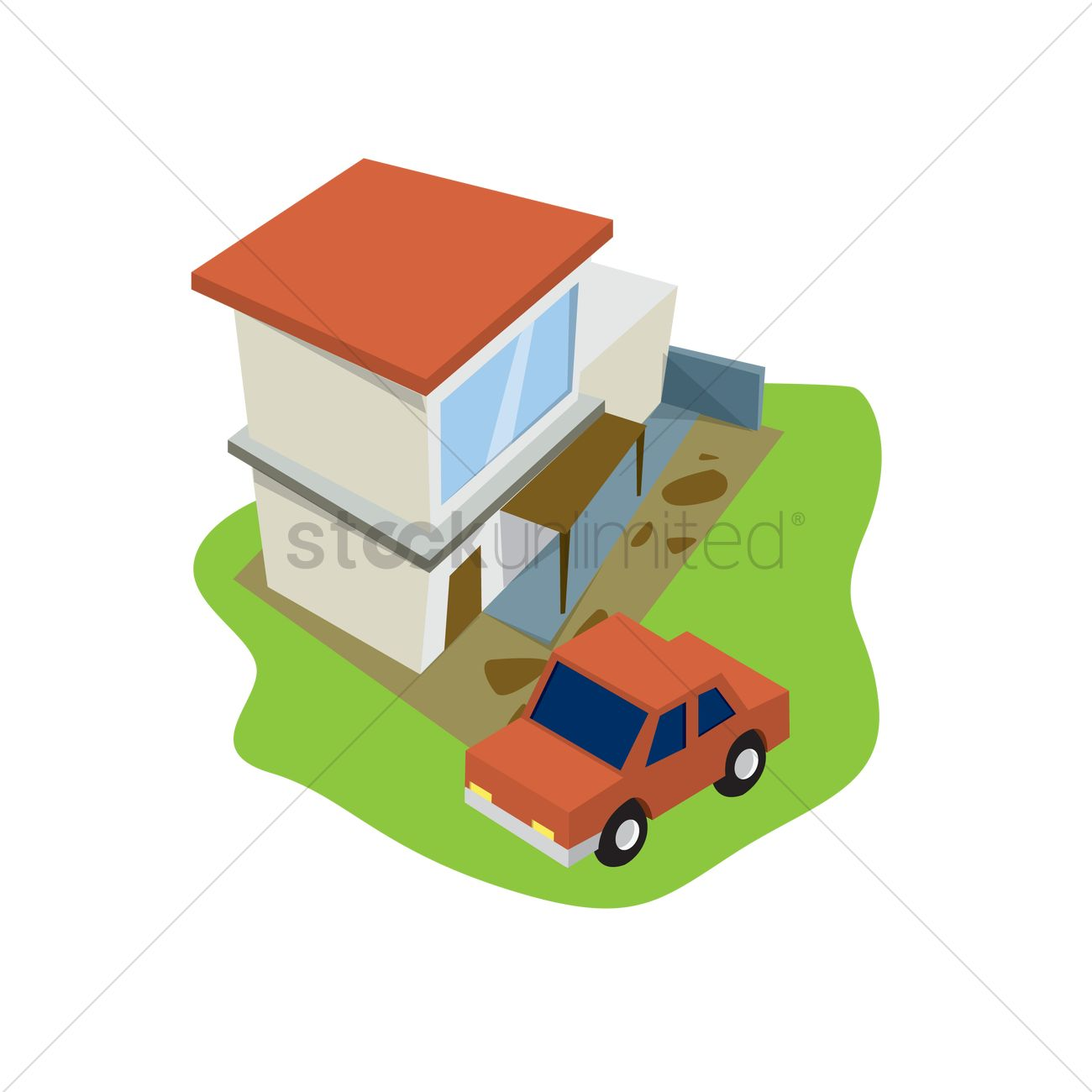 1300x1300 Car Parked In Front Of A House Vector Image