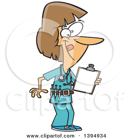 450x470 Free Cartoon Nurse In Scrub Uniform Holding Needle Clipart