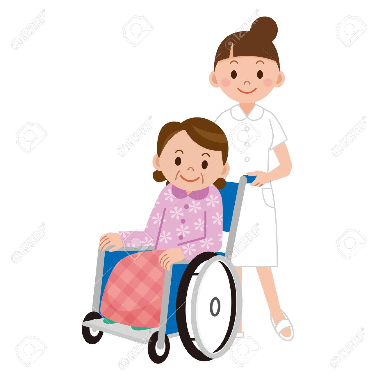 1300x1300 Patient In A Wheelchair Next To A Nurse In Hospital Ward Royalty