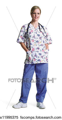 245x470 Stock Image Of A Caucasian Female Pediatric Nurse Stands In Her