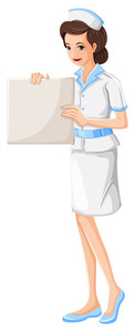 122x300 Black And White Illustration Of A Nurse. Royalty Free Stock Image