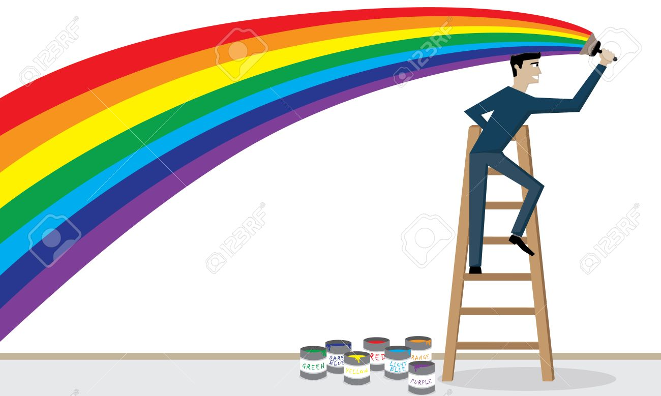 1300x779 Illustration Vector Of A Man Is Painting A Rainbow On The Wall