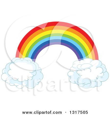 450x470 Clipart Of A Rainbow Arch With Puffy Cloud Ends