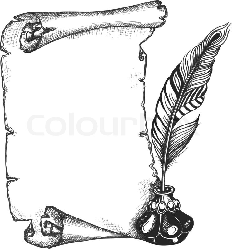 744x800 Paper Scroll, Feather And Inkwell In A Sketch Style. Hand Drawn