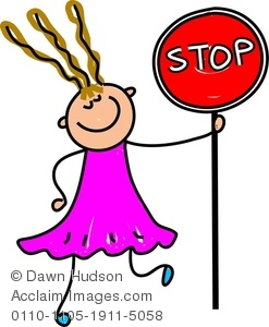 247x300 Image Of A Happy Little Girl Holding A Stop Sign