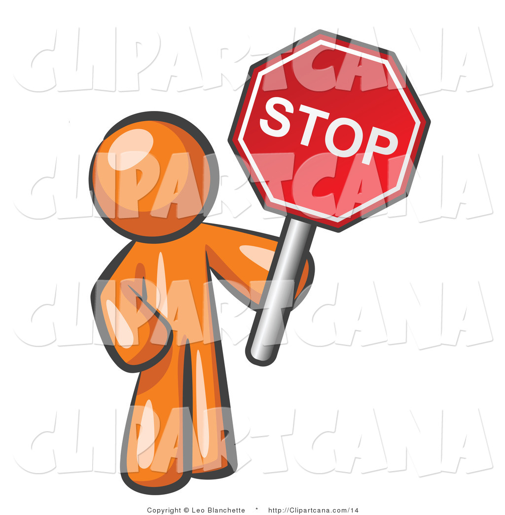 1024x1044 Clip Art Of An Orange Man Holding A Stop Sign By Leo Blanchette