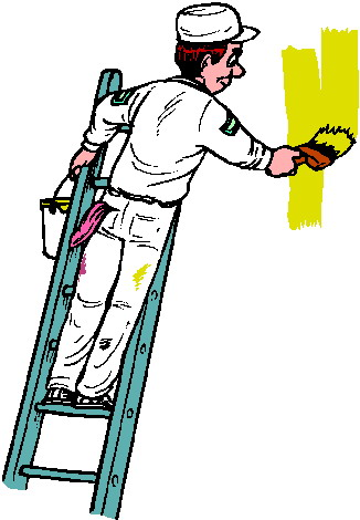 326x470 Painter On Ladder Clipart