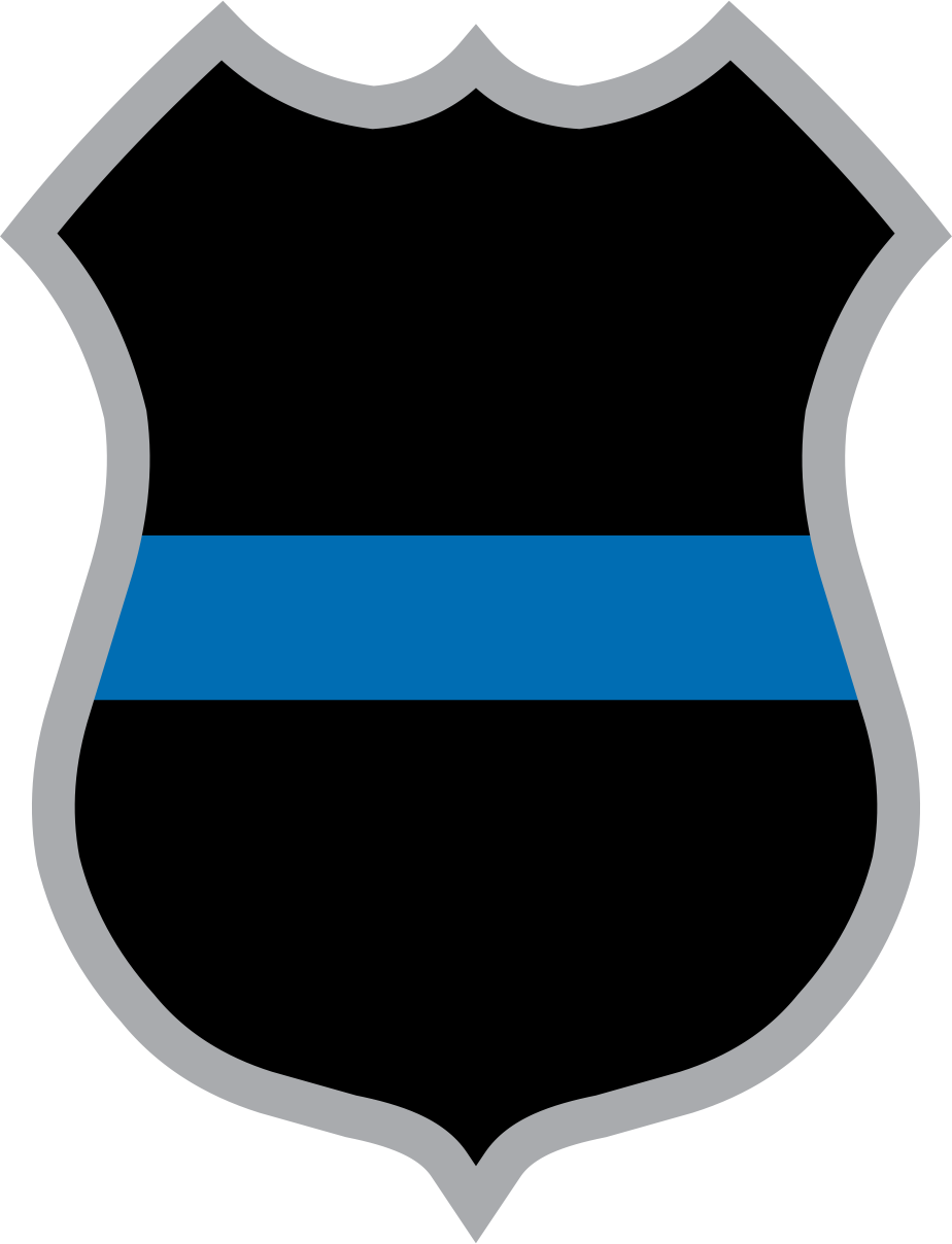 924x1208 Blue Line Police Badge Decal