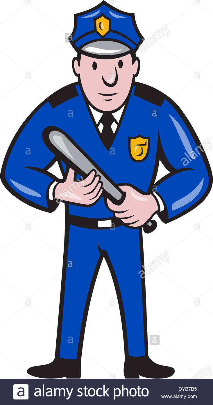 733x1390 Illustration Of A Policeman Police Officer With Night Stick Baton