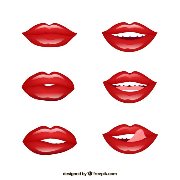 626x626 Red Lips Vector Premium Download
