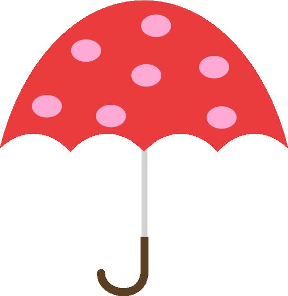 582x599 Polka Dot Umbrella Clip Art