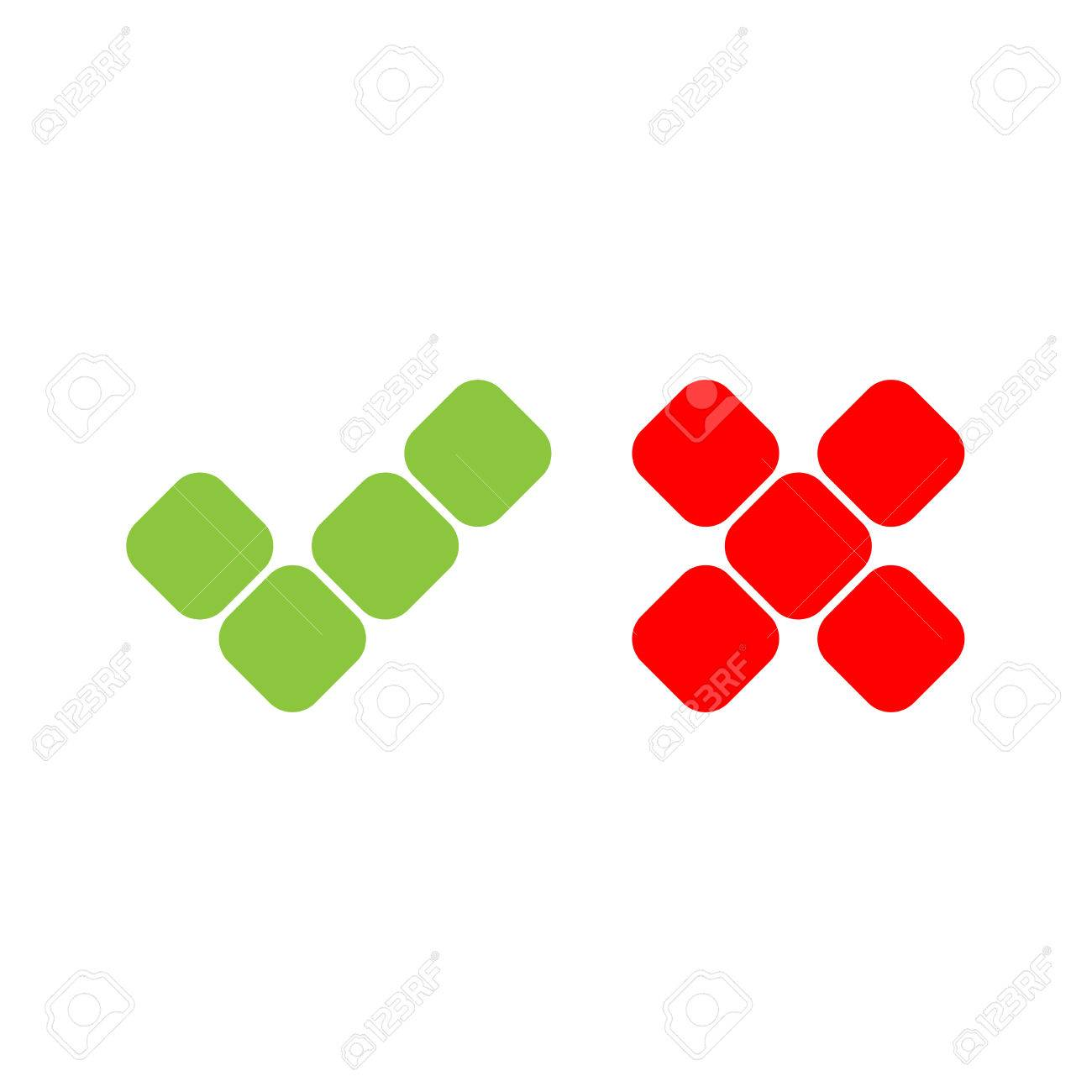 1300x1300 Check Mark Icons Of Squares. Green Tick And Red Cross. Flat Vector