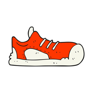 300x300 Freehand Drawn Black And White Cartoon Sneaker Royalty Free Stock