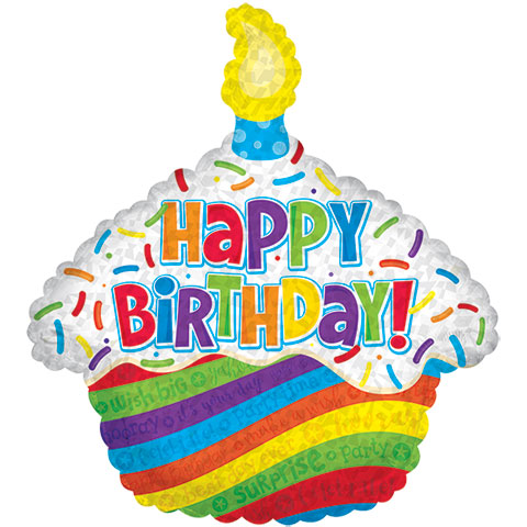 480x480 Bulk Cupcake Shaped Happy Birthday Foil Balloons, 26