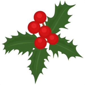 300x300 Christmas Holly Scrapbook Cut File Cute Clipart Files