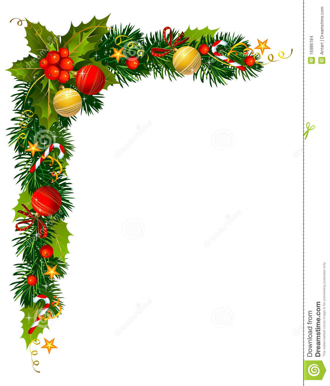1110x1300 Christmas Holly Corner Border Clipart