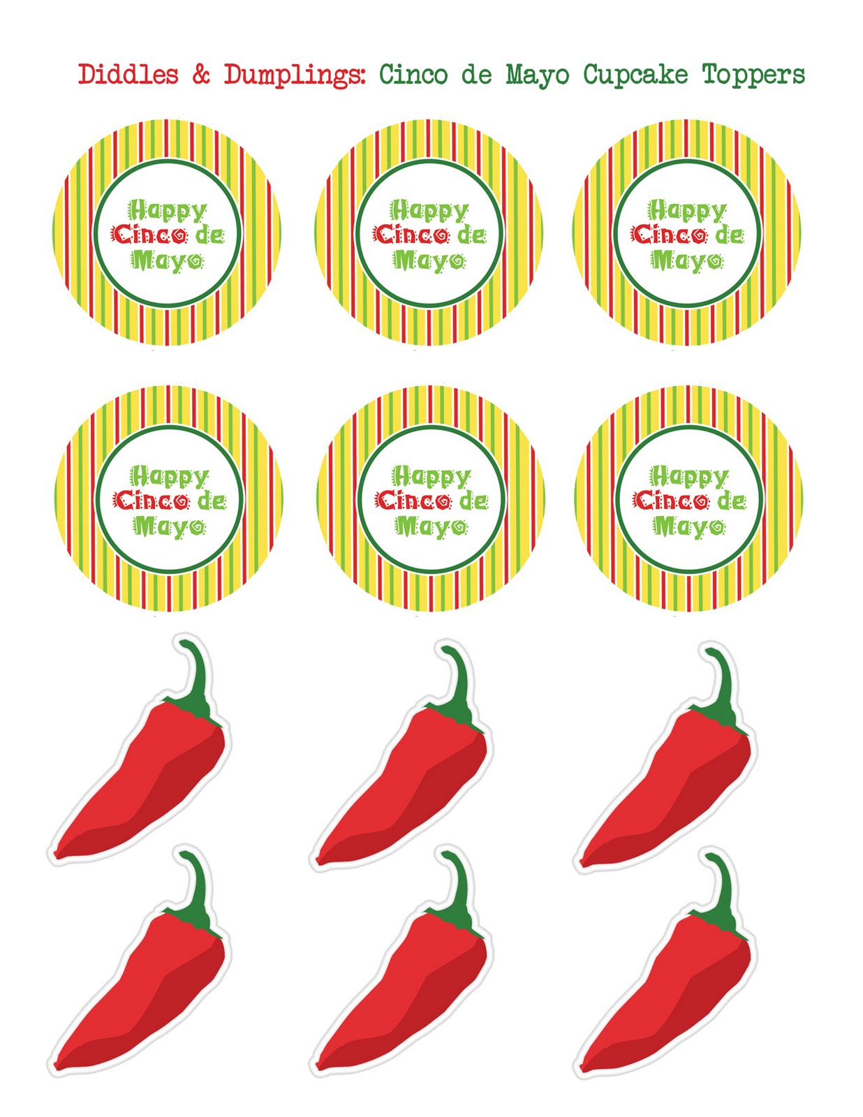 1236x1600 Diddles And Dumplings Cinco De Mayo Printable Cupcake Toppers