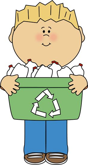 293x550 Boy Putting Trash In Recycling Clip Art