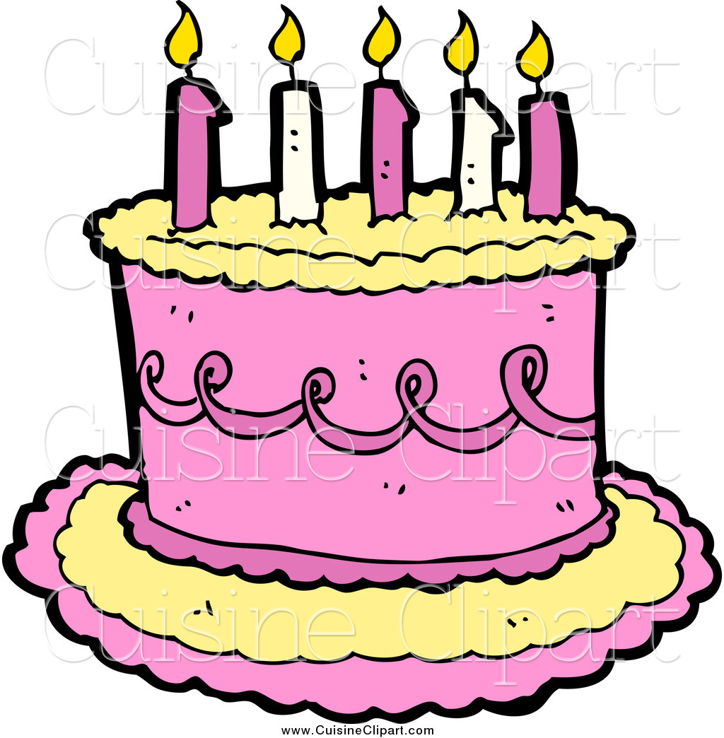 1024x1044 Cuisine Clipart Of A Yellow And Pink Birthday Cake With Candles By