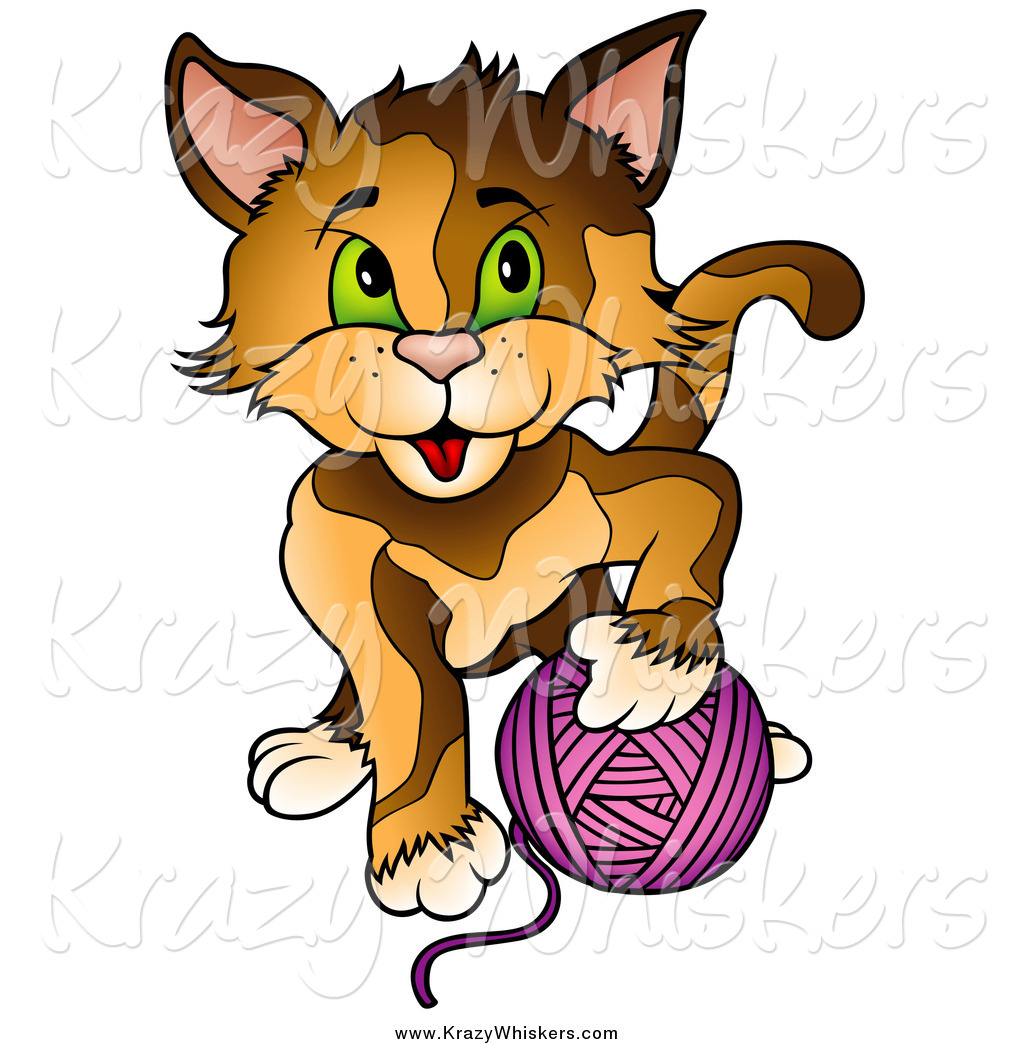 1024x1044 Critter Clipart Of A Cat Playing With A Ball Of Purple Yarn By
