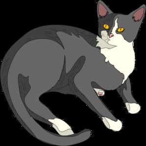 298x297 Lounging Cat Clip Art