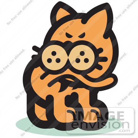 450x450 Royalty Free Cartoon Cliprt Of Cat Biting His Tail To Ease