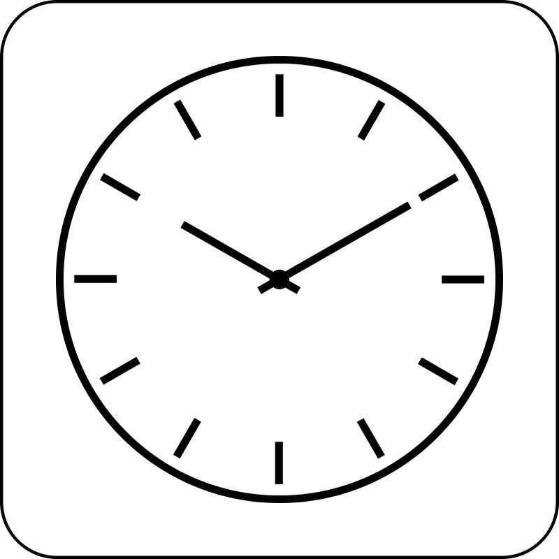 800x800 Clock Clipart Black And White