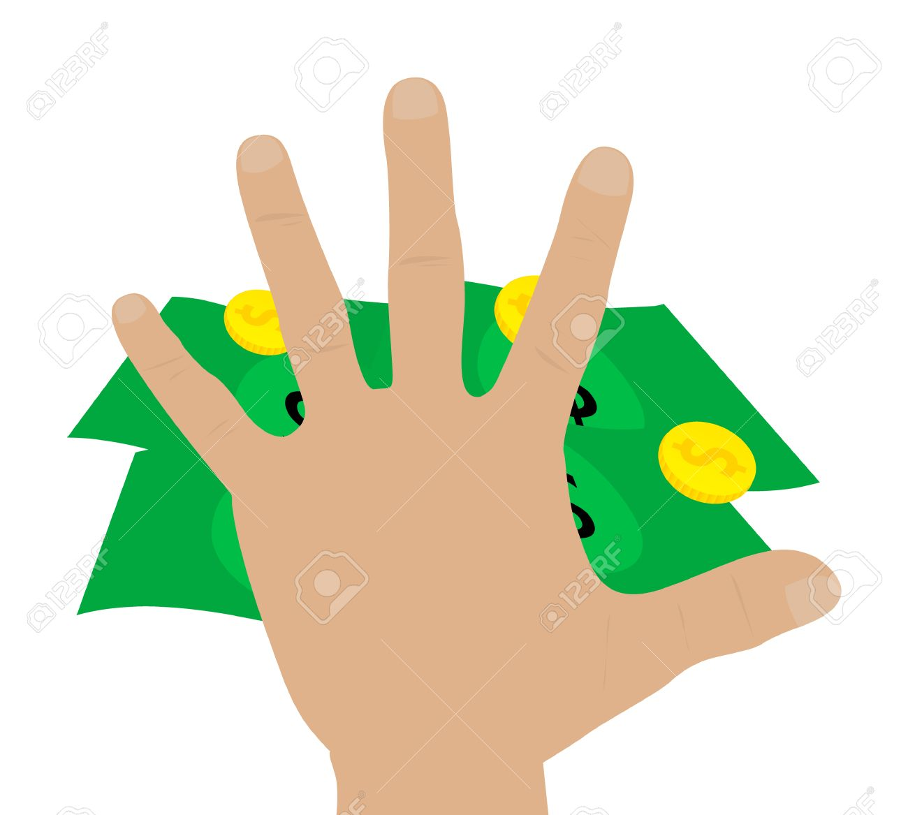 1300x1167 Illustration Of A Hand Grabbing Money Royalty Free Cliparts