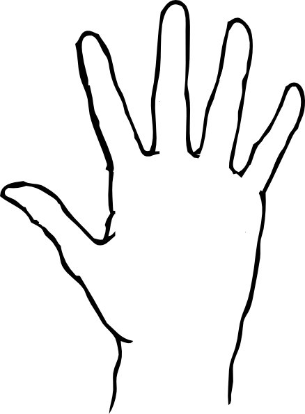 438x595 Outline Of A Hand Clipart